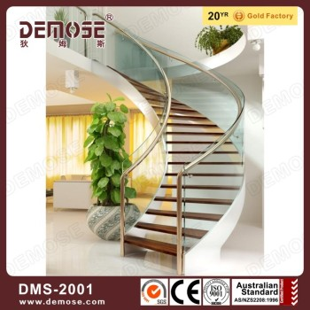 Prefab Open Riser Luxury Wood Curved Staircase