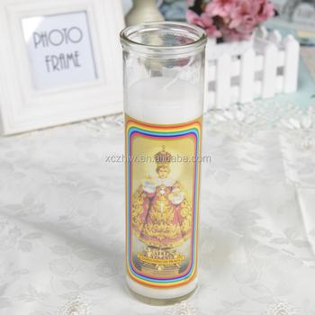 Classic White Vela Santo Nino De Praga Glass Church Candle In ...