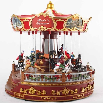 Animated Led Musical Red noel Christmas carousel for christmas holiday decoration