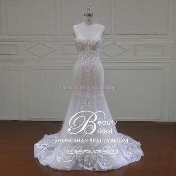 New Design Mermaid Shaped Embellishments Bridal Gown,V-neck & Heart ...