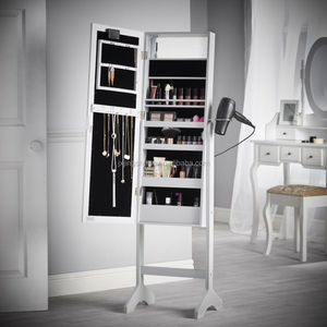 Living room Standing jewelry small jewellery display cabinet with mirror