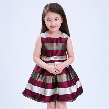 High End Kids Frock Manufacturers Striped Fabric High Quality Dresses with Belt For Babi Girls