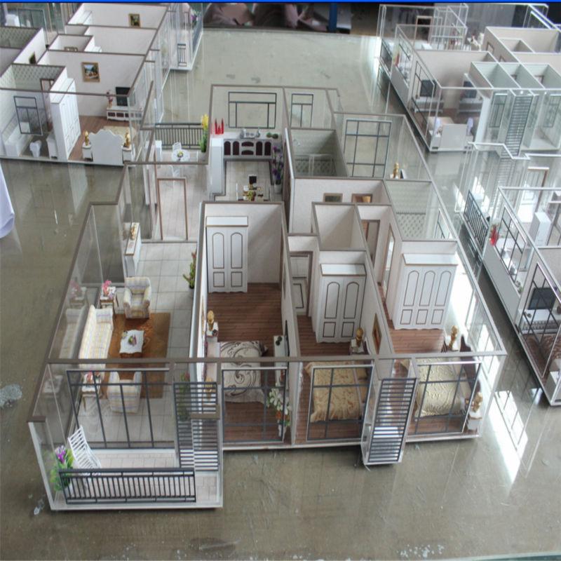 architektur haus modell mit miniatur m bel 3d modell innenraum andere bau immobilien produkt. Black Bedroom Furniture Sets. Home Design Ideas