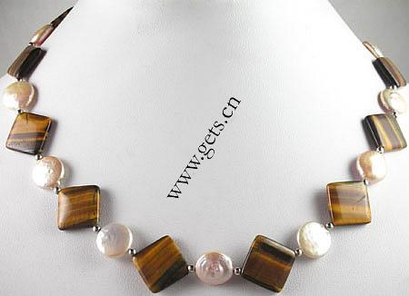 freshwater pearl tiger eye stone necklace