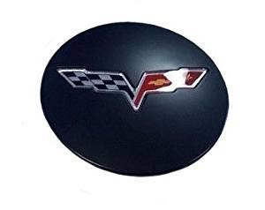 C6 Corvette 2008-2013 GM Center Caps Satin Black With Crossed Flag