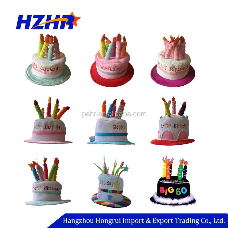 Novelty Happy Birthday Cake Hat Plush Girl Child Pet Gift
