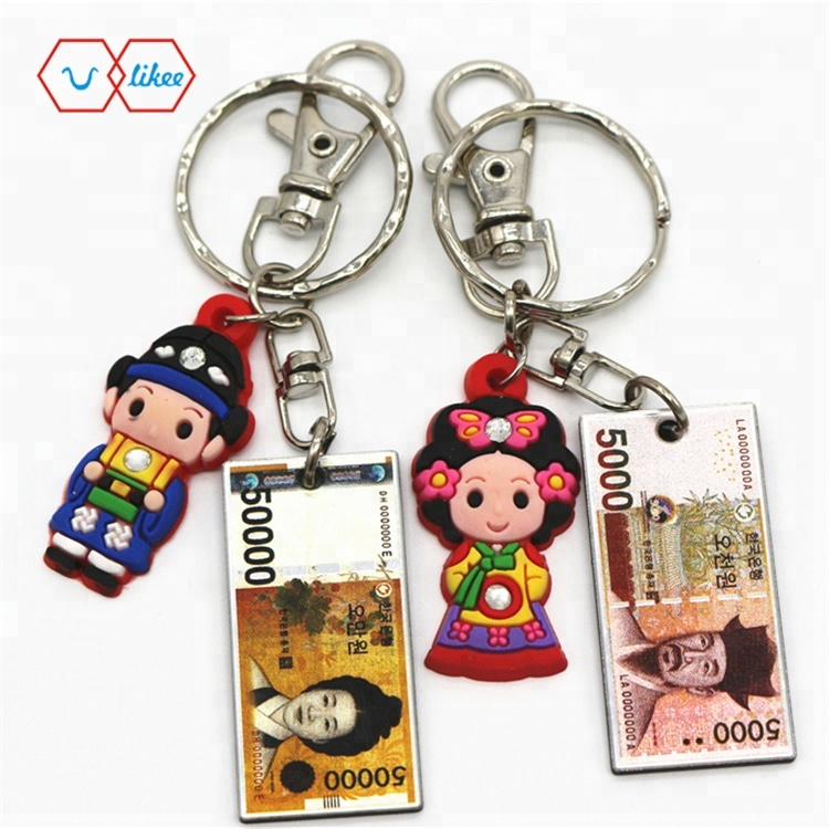 Promotion Custom Made Metal Souvenir South Korea Key chain Korea Style Flag keychain