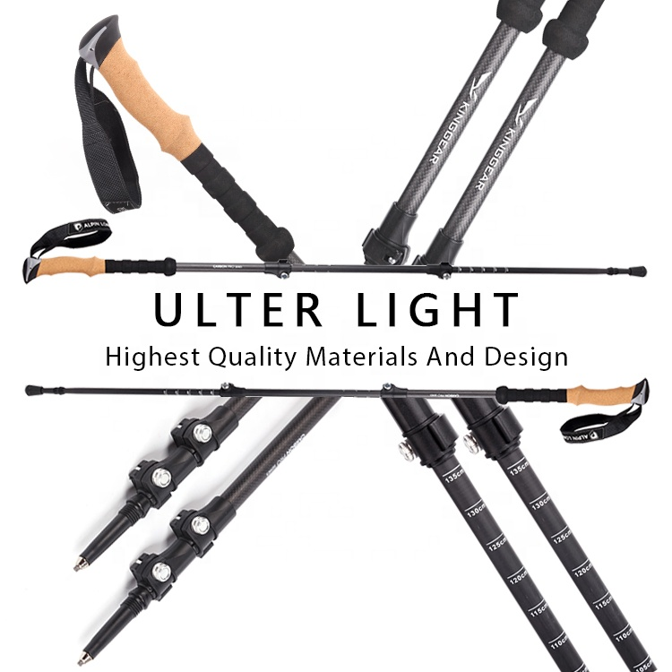 Antique Nordic 100% Carbon Fiber telescoping foldable self defense hiking Trekking Poles Sticks