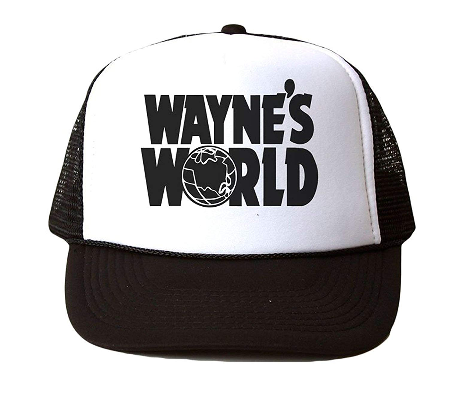 a16ea992057 Get Quotations · Wayne s World Custom Trucker Hat Cap Mesh Snapback -  White Black