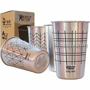 Stackable 16 oz Brushed Stainless Steel Pint Cup