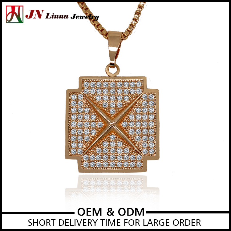 JN2026 Excellent quality pave setting brass jewelry manufacturer Square X shaped cz necklace