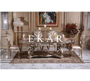 Oval Shaped Dining Room Furniture Set Wooden Baroque Vintage Table Sets