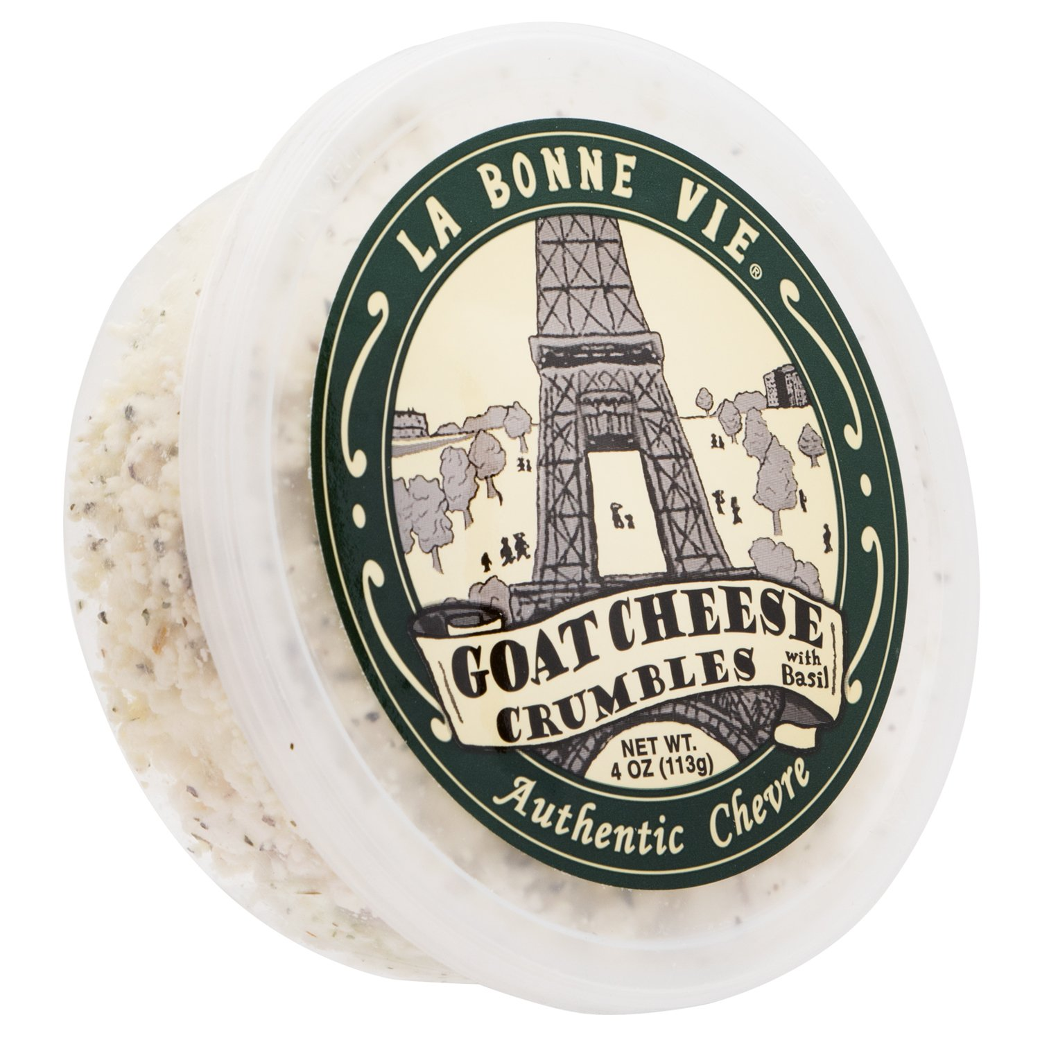 La Bonne Vie Crumbled Goat Cheese with Onion and Basil, 4 oz