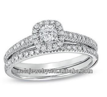 Diamond Frame Bridal Set Pair Indian Gold Engagement Rings Buy