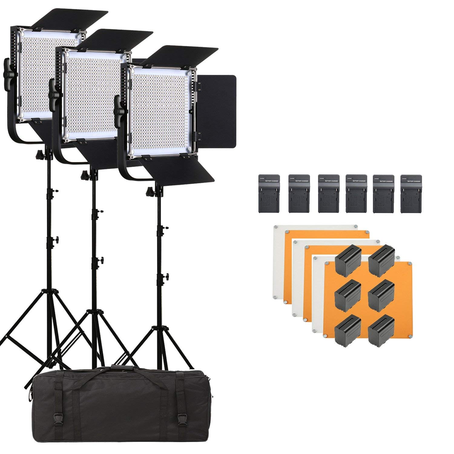 Led Video Light SUTEFOTO 660A Pro CRI95+ 4800lux 600 PCS Pro Metal Dimmable Bi-Color 3200K-5600K Light Panel for Outdoor Interview Studio Lighting Video Making Photography(3 Pack)