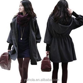 56d0e40cf0d4e Korean Style Women Heated Grey Long Outwear Coat With Hood ...