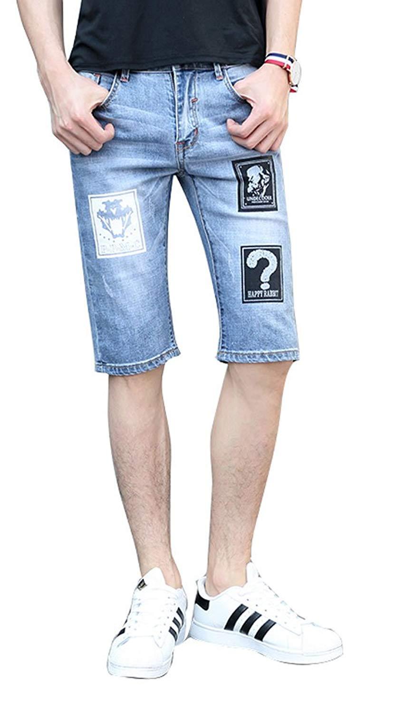 a2b82eeee1 Get Quotations · Plaid&Plain Men's Slim Fit Shorts Jean Shorts Mens Denim  Shorts