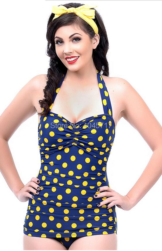 826b5c7c81210 Wholesale-Plus Size S-3L 2015 Vintage Polka Dot one piece Swimsuit sexy push  up fat swimwear women pinup monroe biquini bathing suit