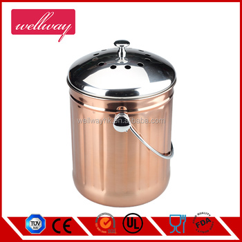 1.0 Gallon Kitchen Stainless Steel Compost Bin, Compost Pail With Lid And  Carbon
