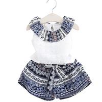Girls Fashion Clothing Sets 2016 Brand Girls Clothes Kids Clothing Sets Sleeveless Whirte T-Shirt + Short 2Pcs Suits
