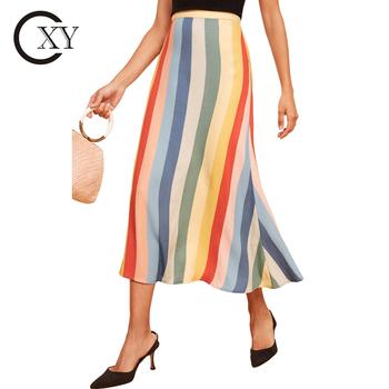 a6356f3d3db8cc Custom Ladies New Fashion Bright Vertical Striped High Waist Midi Skirt
