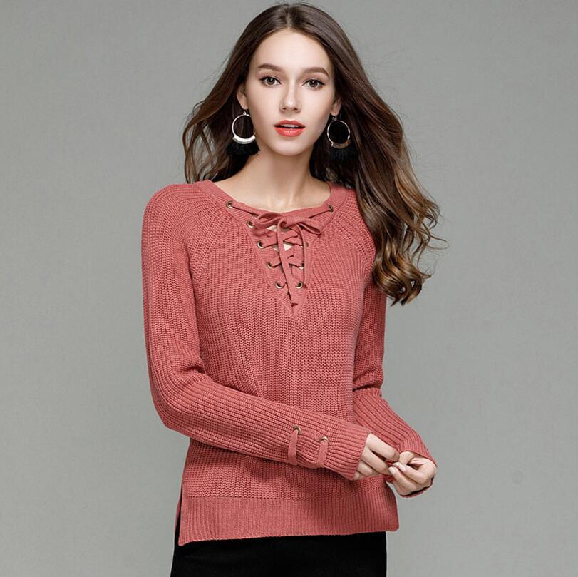 2018 new design women cross v neck cute sweater dress all match lace up  plian colour 27dff3e60