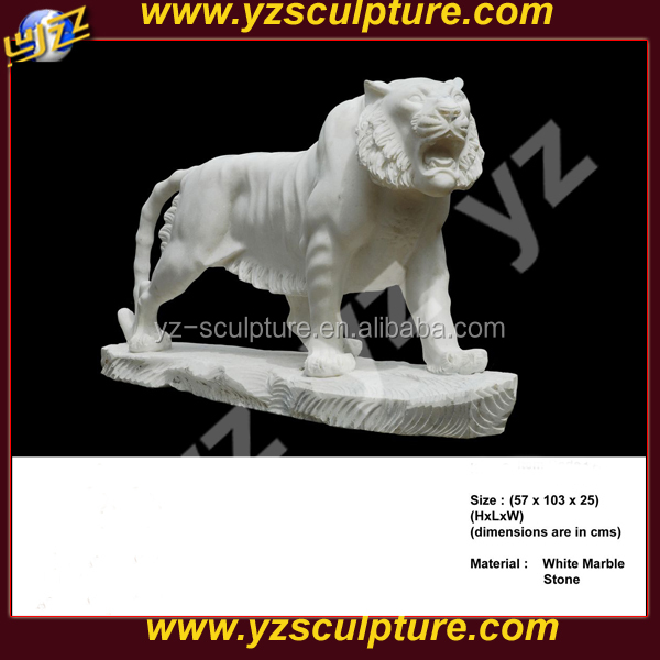 west style life size white stone tiger statue