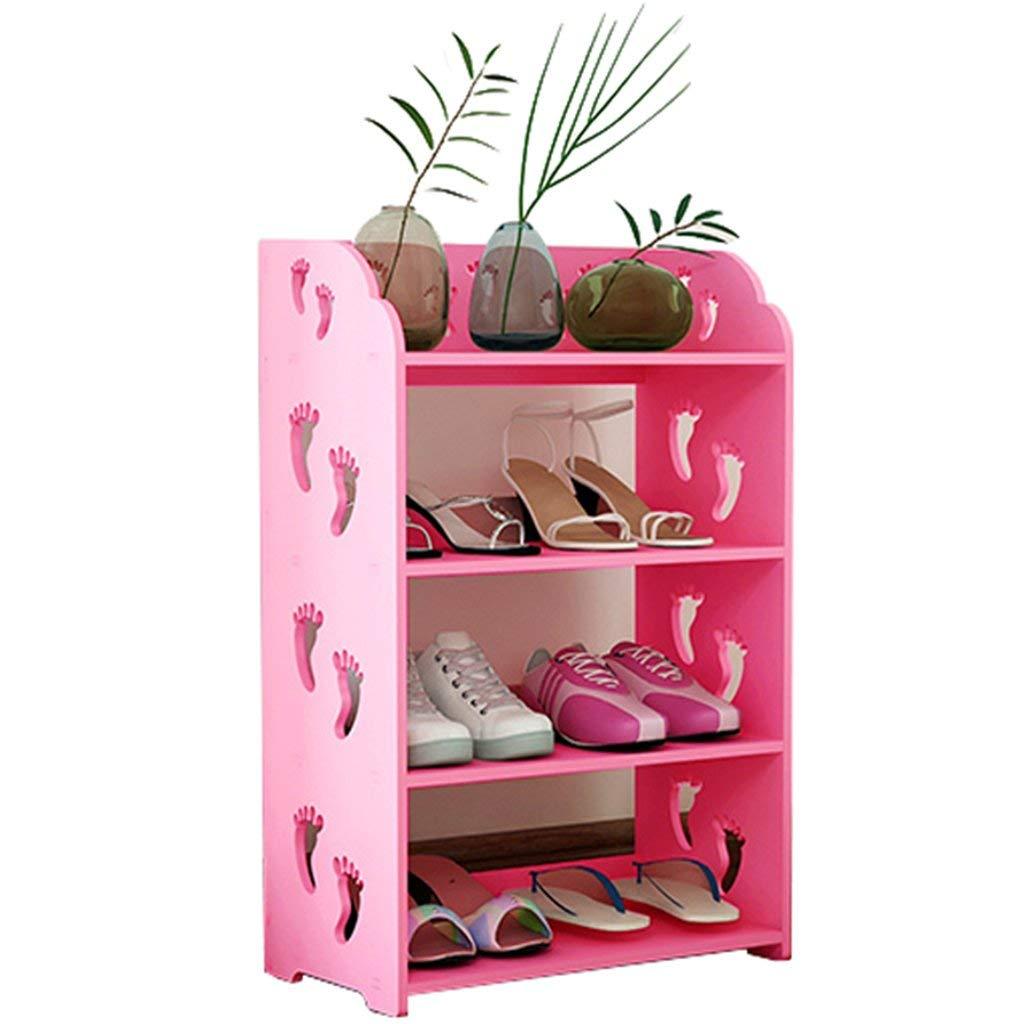 AIDELAI shoe racks Shoe Rack Cabinets Creative Carvings Organiser Shelves Multifunctional Dustproof 4 Tiers With Drawer Combination Of Shoe Racks (Pink/602481cm)