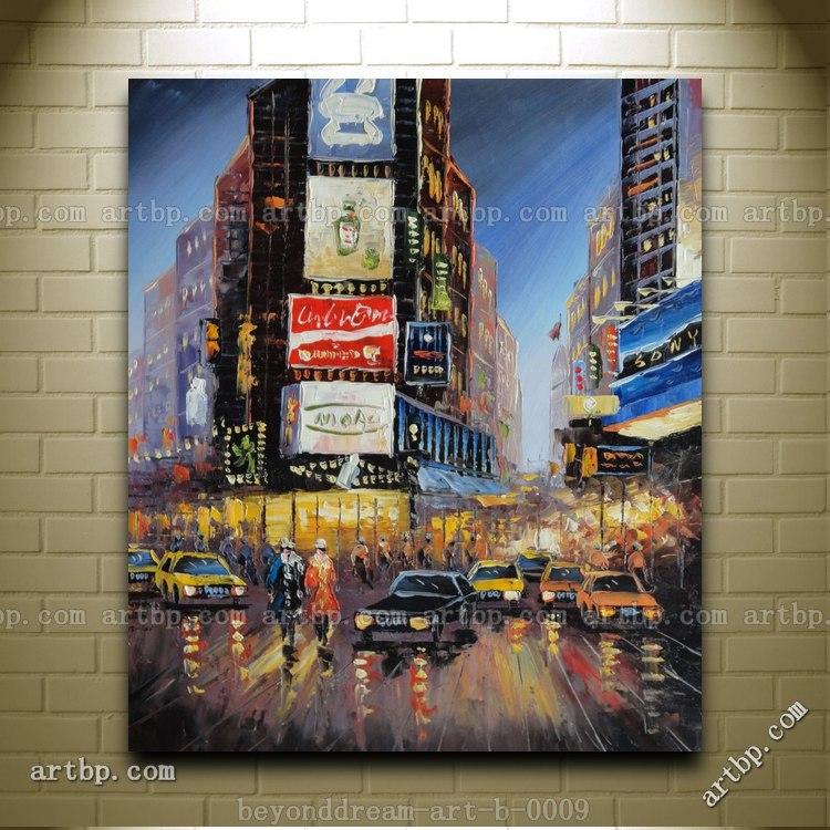 New York Time Square Street Scene Oil Painting