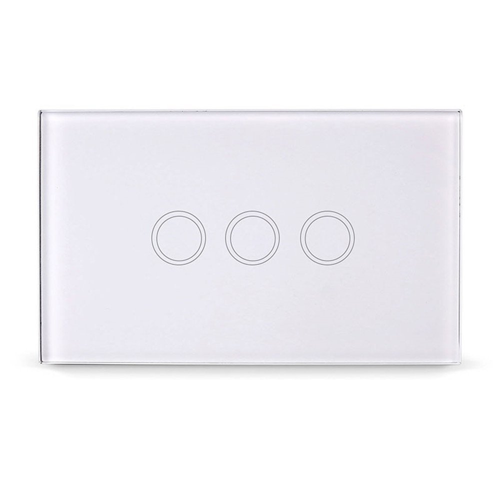 Smart Touch Switch, ONEVER 3 Gang Touch Screen Home Light Dimmer Switch Control Switch with Remote Controller, White Crystal Glass Panel (3 Gang)