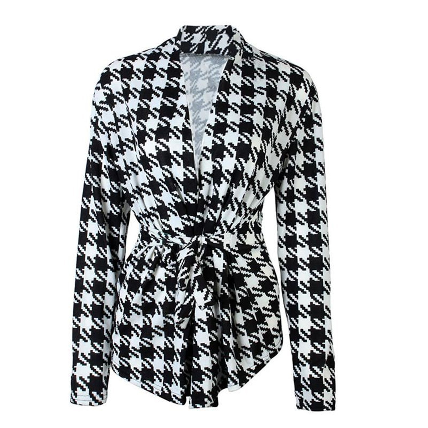cb44a1158b2d Get Quotations · Michael Palmer Women Jackets Black White Plaid Blazer Coat  Work Wear Office OL style Blazer with