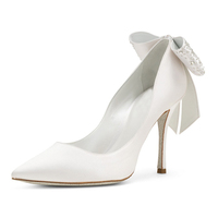 High Quality Fancy Stilettos Bridal Shoes White Stain Heels Wedding Shoes For Women