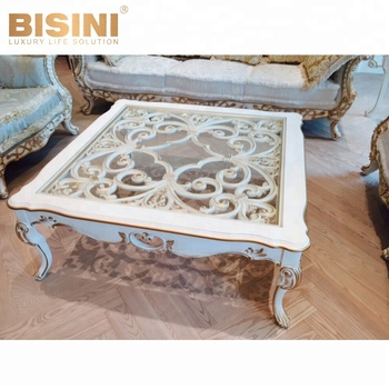Bisini Luxury White Gold Hollowed Out Solid Wood Hand Carved Coffee Table Antique Style For Living Room Set Bf07 30064