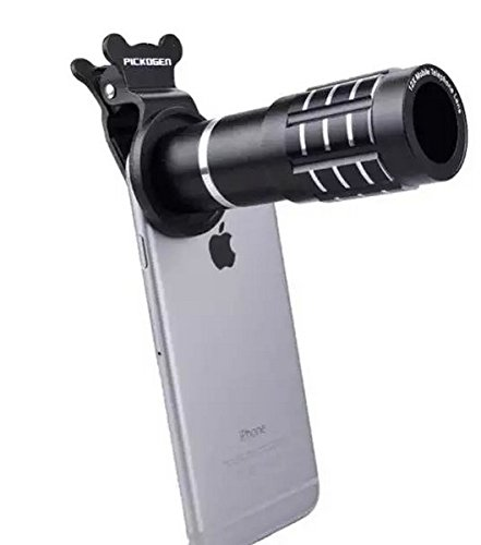 Shopping_Shop2000 Universal Clip-On 12x Zoom Aluminum Telephoto lens Manual Focus Lens For iphone 6s, 6s Plus, 6 plus, 6, SE, 5s/5, All Samsung Galaxy, Note & Android Smartphones, Tablet (Gold)
