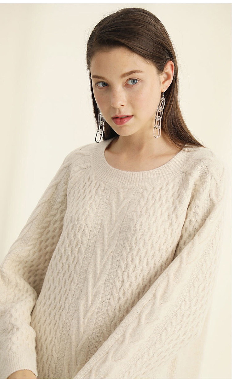 Beautiful crew neck luxury cable knit sweater dress womens