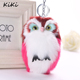 15CM Cute Fluffy Owl Keychain & Pendant Women Key Ring Holder Faux Bunny Rabbit Fur Pompoms Key Chains For Handbag Plush Keyring