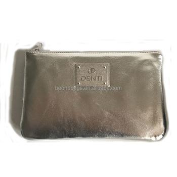 Silver Color Leather Korean Cosmetic Bag Designer Korea Product On