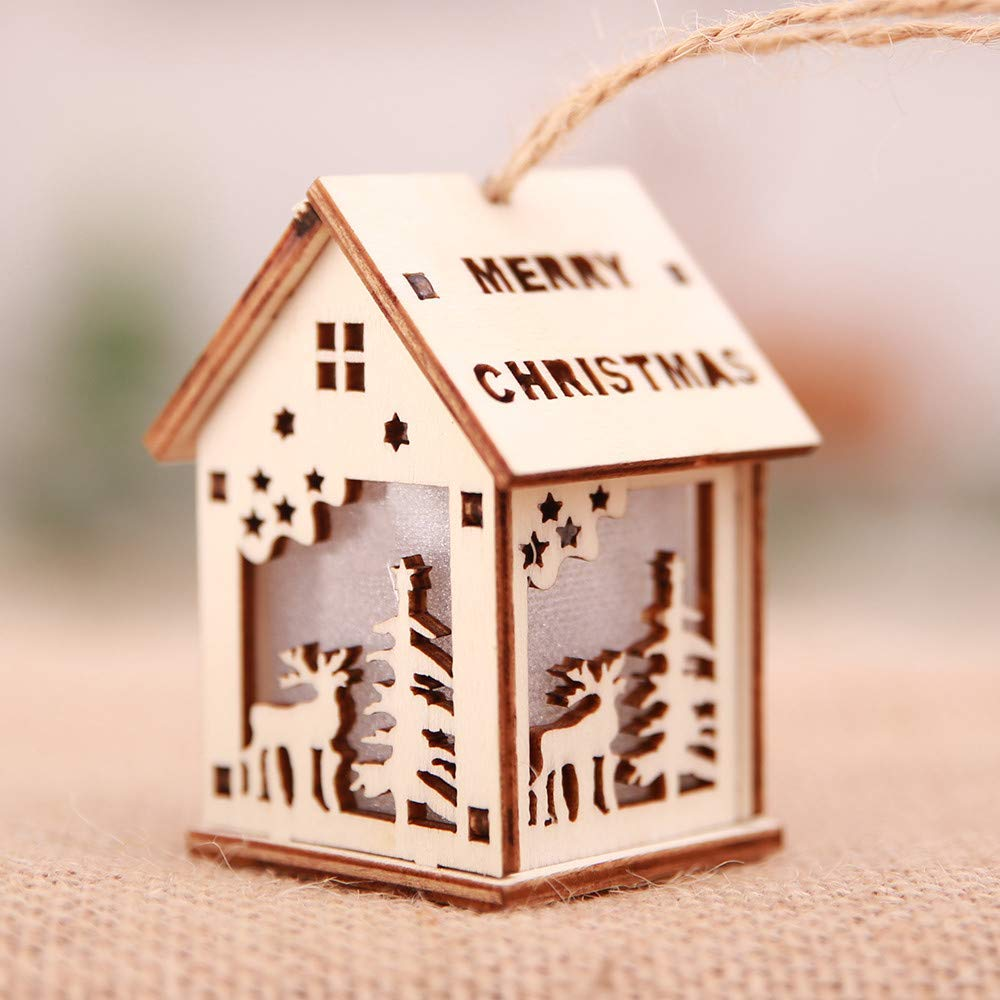 Christmas Tree Ornaments Decorations, Cabin LED Light Wood Chalet Hotel Cabin Christmas Pendant Decoration Holiday Party, Home Décor