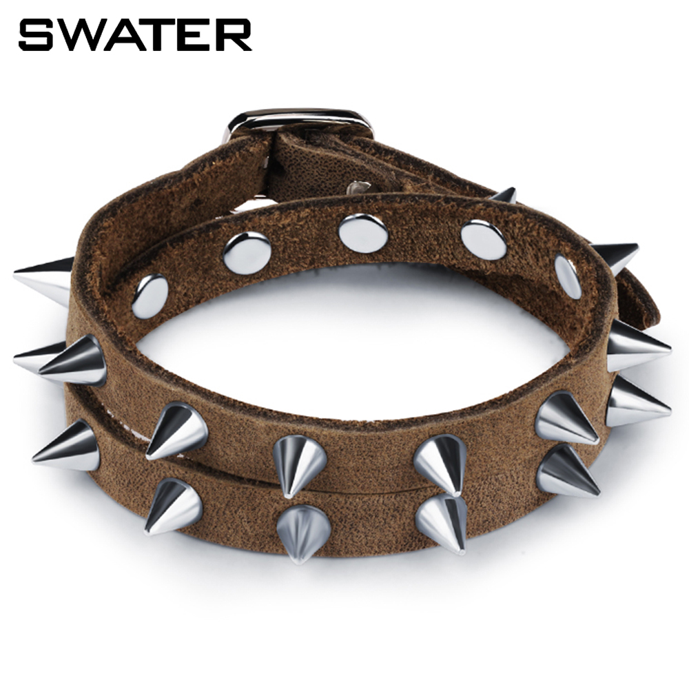 Latest Fashion Hip Hop Style Leather Wrpa Bullet Bracelet For Boy