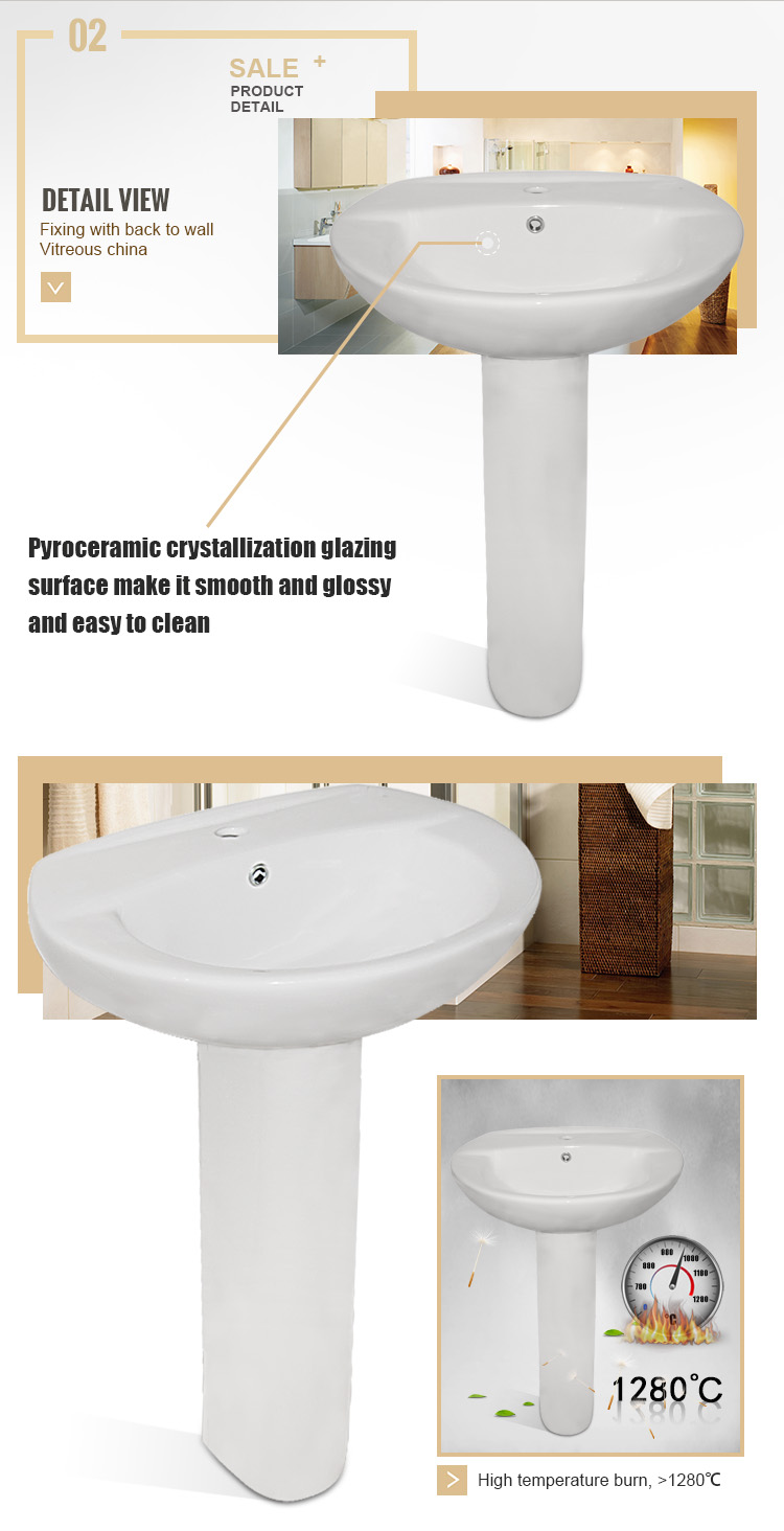 Low Cost 21''/24'' Floor Mounted Ceramic Wash Hand Basin With Pedestal