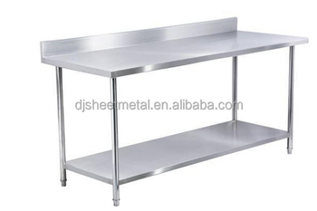 stainless steel kitchen work table with backsplash and under shelf