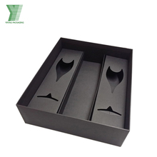 black cardboard double cups packaging wine glass box with paper tray