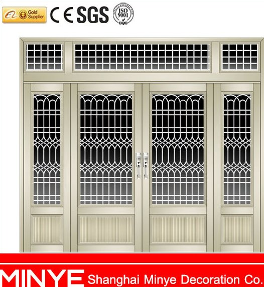 GERMAN STYLE GRID DESIGN METAL COLOR ALUMINUM SWING OUT CASEMENT DOOR FOR HOME