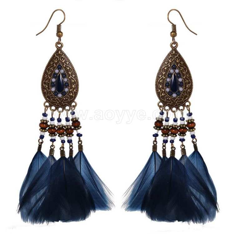 Wholesale manufacturer custom personality alloy natural feather coffee beads earrings