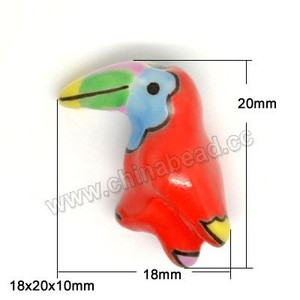 Hot sale hand painted ceramic bird shaped bead animal porcelain beads
