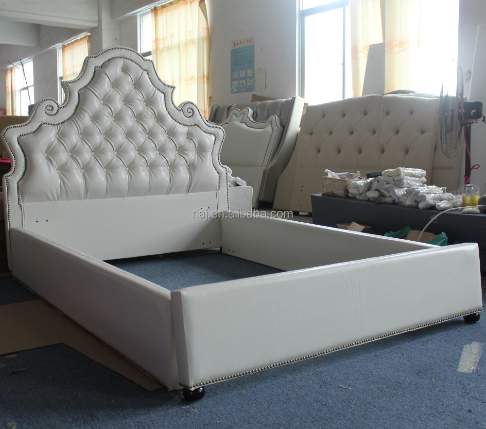 White leather diamond bed royal palace style design