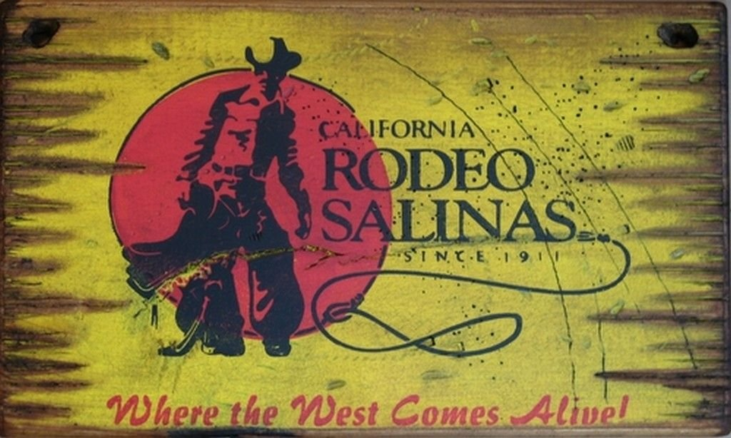 Cowboy Signs Wood Wall Hanging Rodeo Salinas Yellow Brown Red 7035
