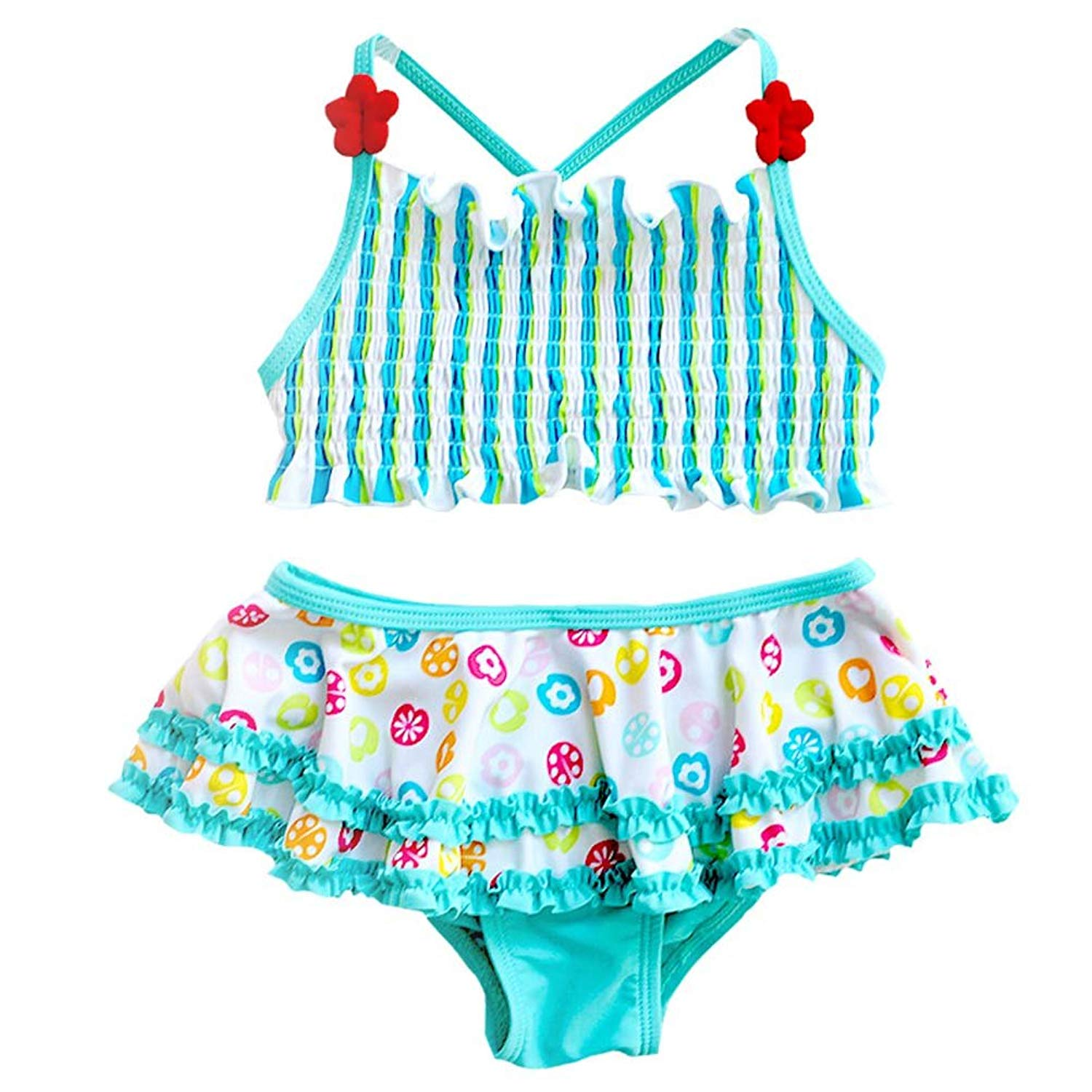 d2f7b4ccd8 Get Quotations · ANJUY Toddler Girls Two Pieces Swimsuits Printing Ruffle  Swimwear Beach Tankini