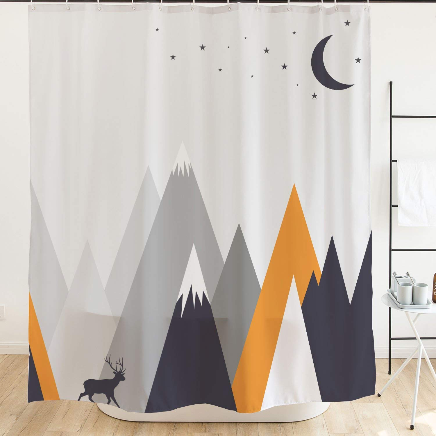 """Elk Shower Curtain Deer Roaming in Mountain Forest Colorful Shower Curtain with Hooks, Waterproof Fabric Shower Curtains for Bathroom Accessories, No Liner Needed, Moon Stars Gray Orange 71""""x 71"""""""
