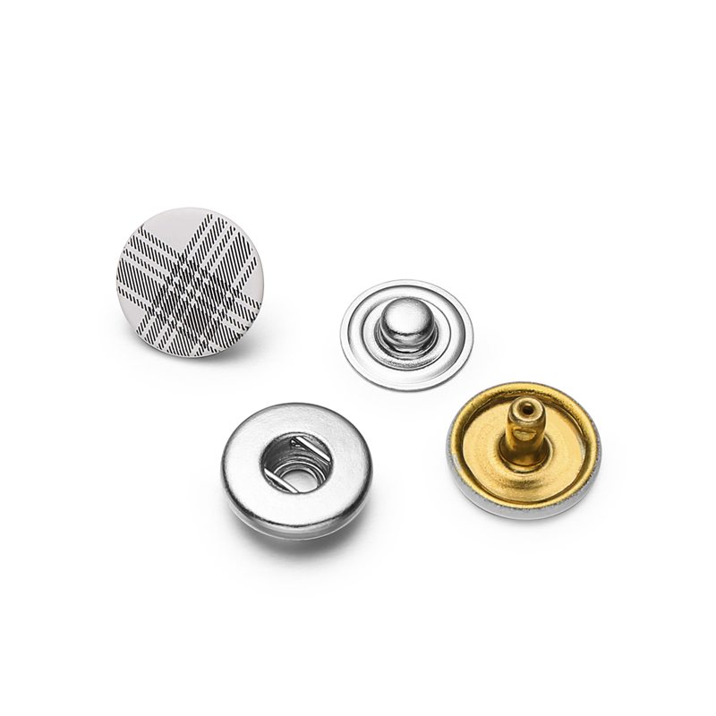 Custom silk print 10mm white flat brass metal double snap fastener button for jacket